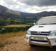 Franschhoek view on 4×4 wine tour
